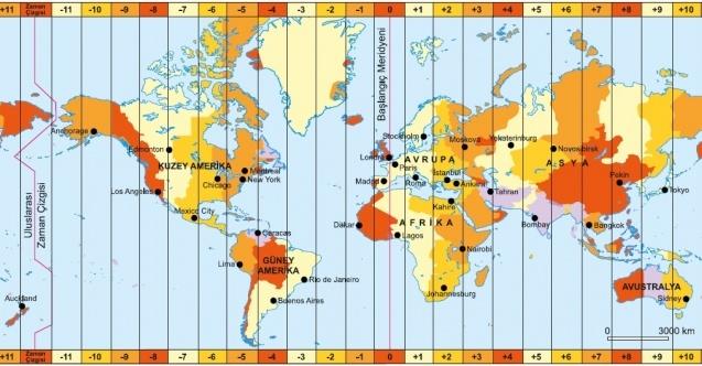 Birden Fazla Ulusal Saat Dilimini Kullanan Ülkeler